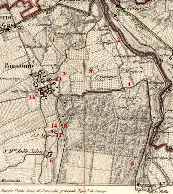 Carta geografica 1-25.000 disegnata da Giovanni Brenna Edizione 1836